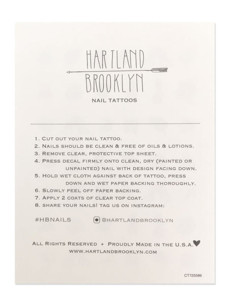 Back of the Hartland Brooklyn Nail Tattoo sheet that includes in the instruction.