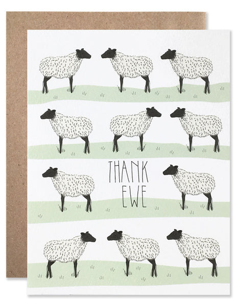 Illustrated white sheep with black faces standing in rows of green grass with 'thank ewe' written in the middle. Hand illustrated by Hartland Brooklyn.