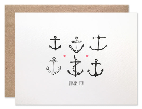 Six illustrated black anchors with thank you written underneath. Hand illustration and writing by Hartland Brooklyn.