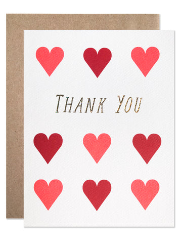 Thank you / Thank You Hearts with Glitter Foil - wholesale