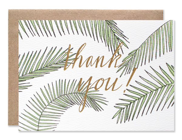Gold foil thank you blank card with green palms illustrated by Hartland Brooklyn.