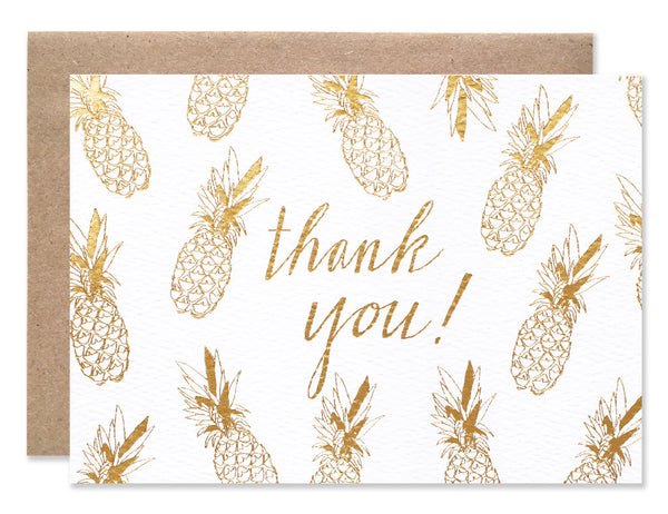 Gold foil stamped pineapples with thank you script illustrated by Hartland Brooklyn
