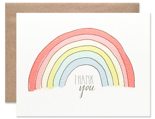 Neon rainbow with thank you written underneath, illustrated by Hartland Brooklyn