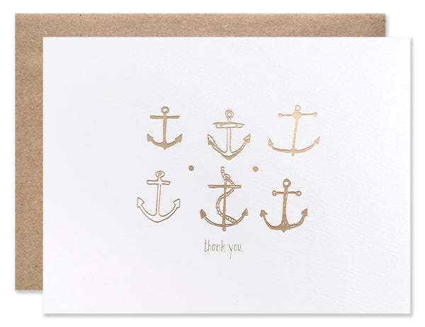 Gold foil stamped anchors. Illustrated by Hartland Brooklyn