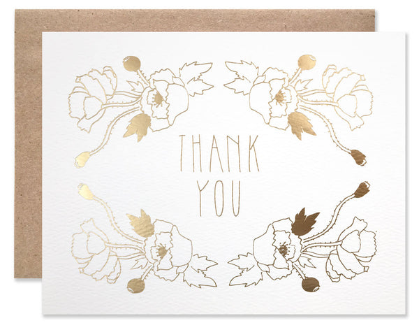 Gold foil stamped poppy flowers circling the words 'thank you'. Illustrated by Hartland Brooklyn.