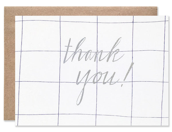 Light blue grid with silver thank you letter pressed. Illustrated by Hartland Brooklyn.