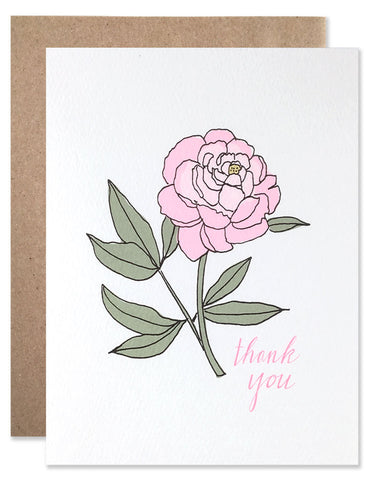 Thank you card with a hand illustrated pink peony by Hartland Brooklyn.