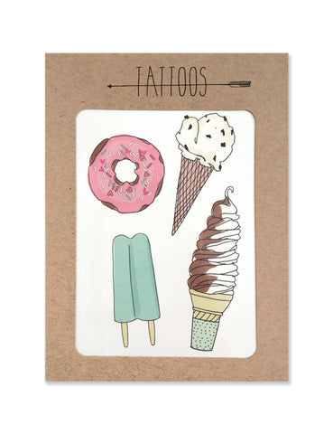Donut, popsicle, ice cream twist and ice cream scoop tattoos illustrated by Hartland Brooklyn.