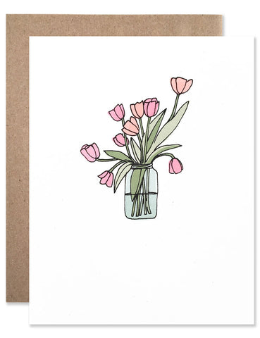 Pink and orange tulips in a blue mason jar hand illustrated by Hartland Brooklyn.