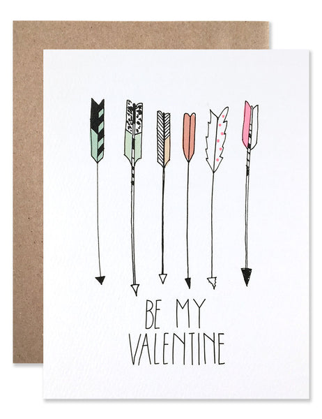 "6 multi-colored feather arrows pointing at the words ""Be My Valentine"". Illustrated by Hartland Brooklyn."