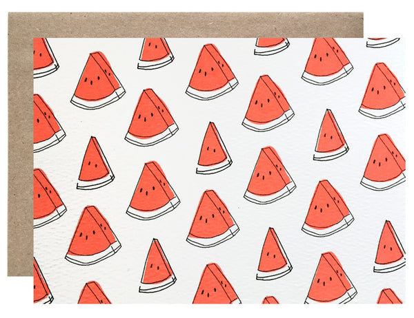 watermelon pattern with white background folding card illustrated by Hartland Brooklyn