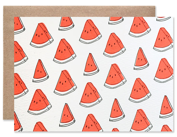 Neon red watermelon wedges pattern illustrated by Hartland Brooklyn