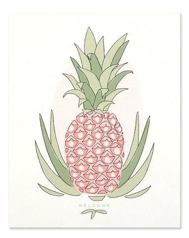 Neon pink pineapple with green top with 'welcome' written below. Illustrated by Hartland Brooklyn.
