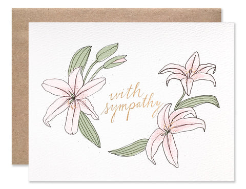 With Sympathy Lily is illustrated by Hartland Brooklyn and features three pink lilies with gold foil accents