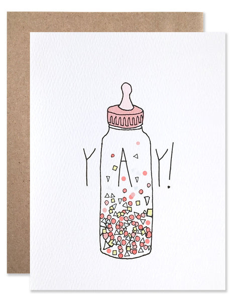 Pink baby bottle filled with neon confetti illustrated by Hartland Brooklyn