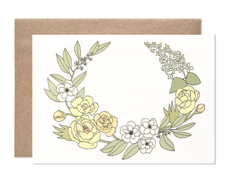 Everyday / 4 bar / Yellow Laurel Blank Folding Card - wholesale