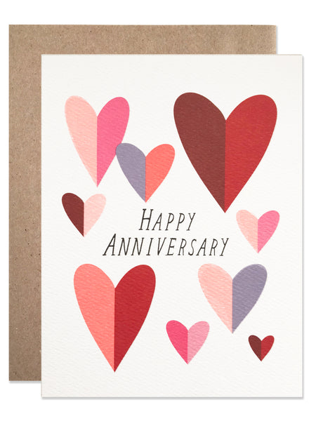 Happy Anniversary Folded Hearts