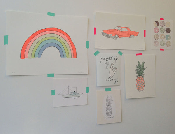 Neon examples of the rainbow, neon car, rainbow, pineapple and other art prints from Hartland Brooklyn.