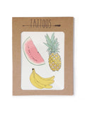 Fruit tattoos illustrated by Hartland Brooklyn printed with vegetable inks and made in the