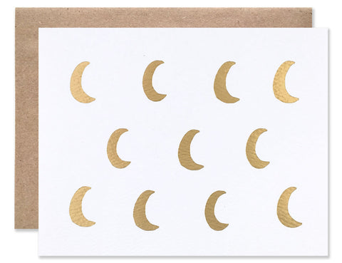 Gold foil crescent moons illustrated by HartlandBrooklyn
