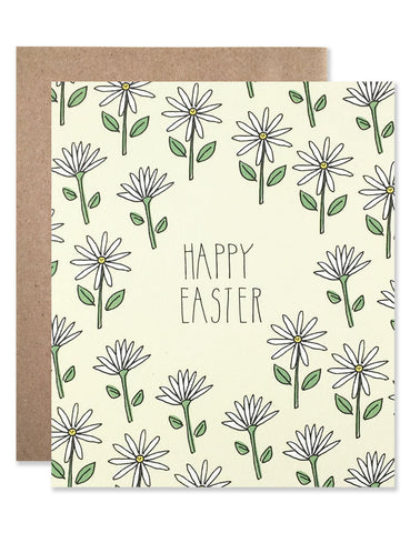 White daisy pattern on a pale yellow background with Happy Easter written in the center. Illustrations by Hartland Brooklyn.