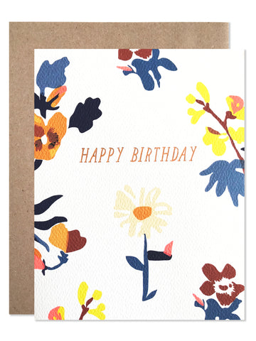 Birthday /  Happy Birthday Laura Floral with Copper Foil - wholesale