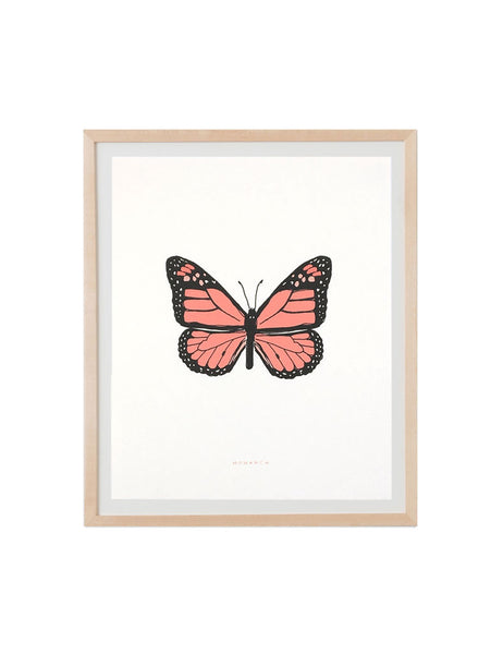 Neon monarch art print in natural wood frame. Illustrated by Hartland Brooklyn.