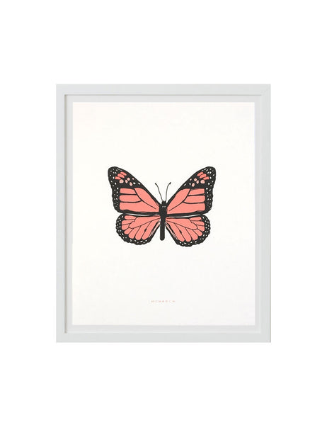 Neon monarch art print in white frame. Illustrated by Hartland Brooklyn.