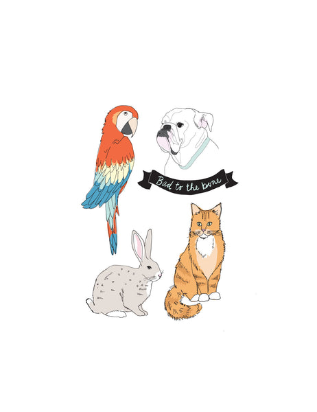 Animals included in the pet tattoo pack are a parrot, cat, rabbit, and bull dog.