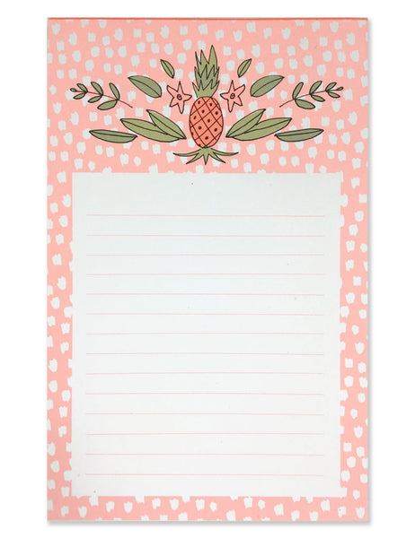 Pink background with white polka dots. Illustrated by Hartland Brooklyn.