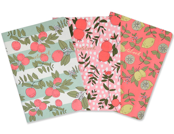 trio of fruit notebooks with neon illustrations by hartland brooklyn.
