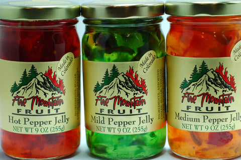 3 Pepper Pack:  Hot Pepper Jelly, Mild Pepper Jelly & Medium Pepper Jelly