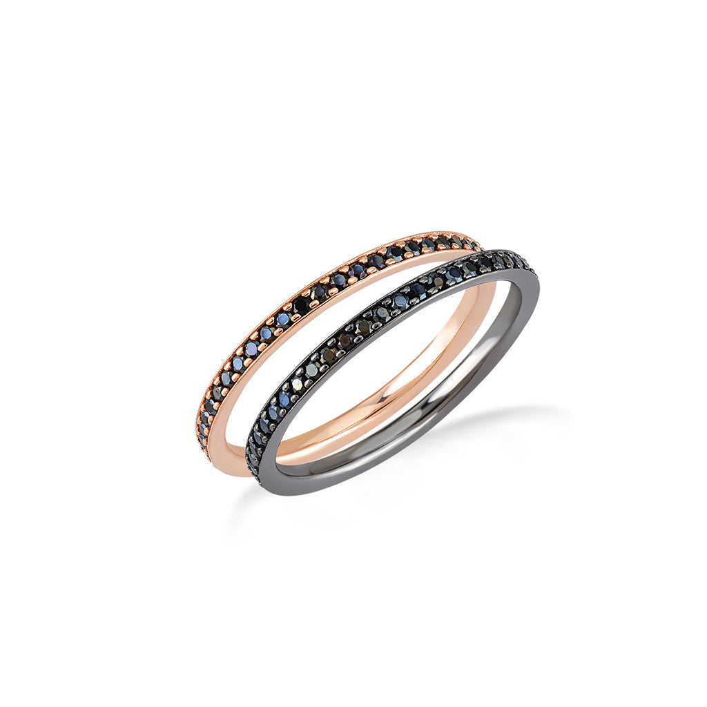 Eternity Ring With Black Spinel in Rose Gold Rhodium