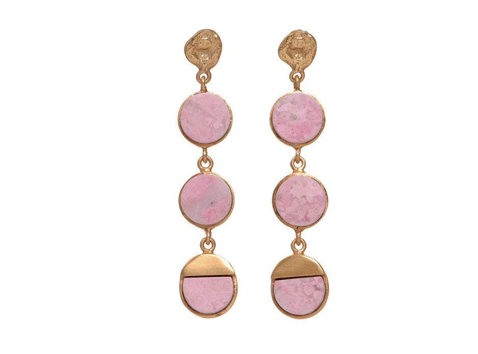 Triple bliss Rhodochrosite earrings