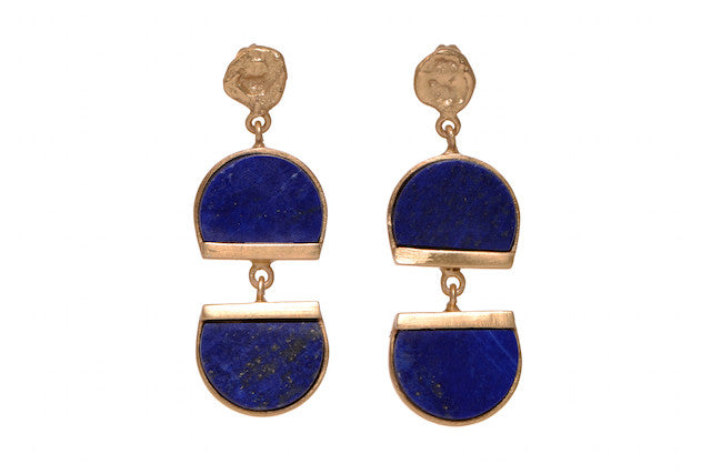 Double decked lapis lazuli earrings