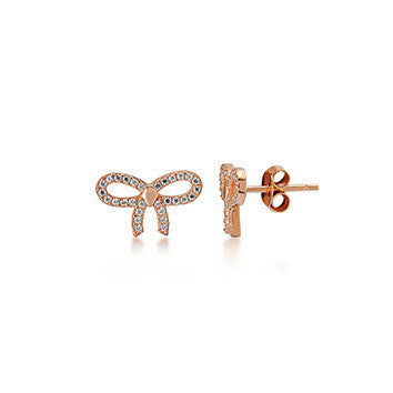 Bow Earrings in Rose Gold Rhodium