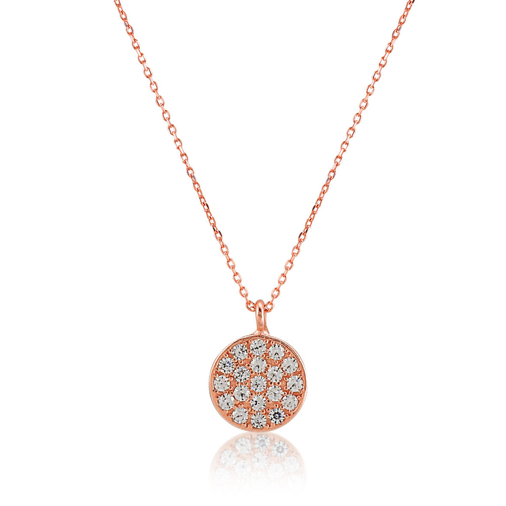Mini Disc Necklace in Rose Gold Rhodium
