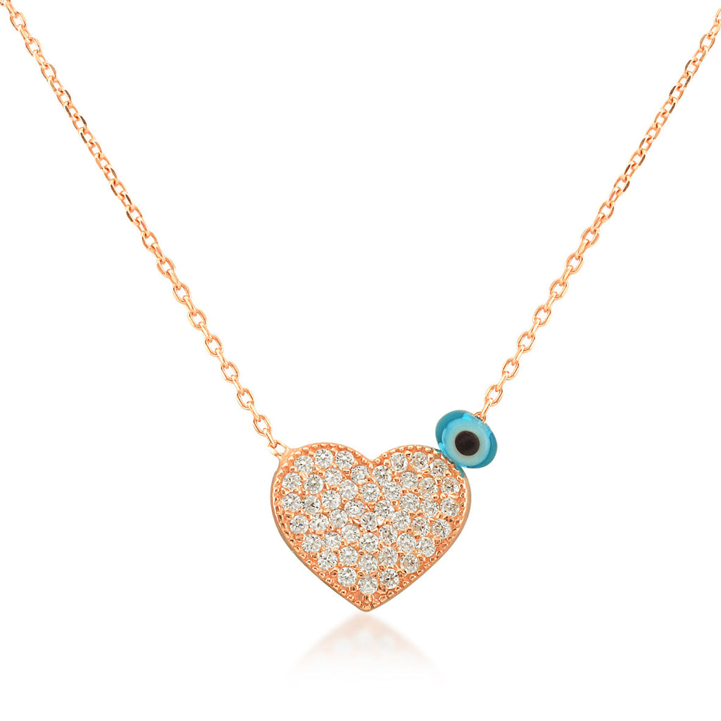Big Heart Necklace in White Rhodium