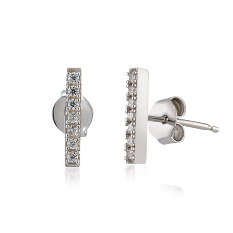 Bar Earrings in White Rhodium