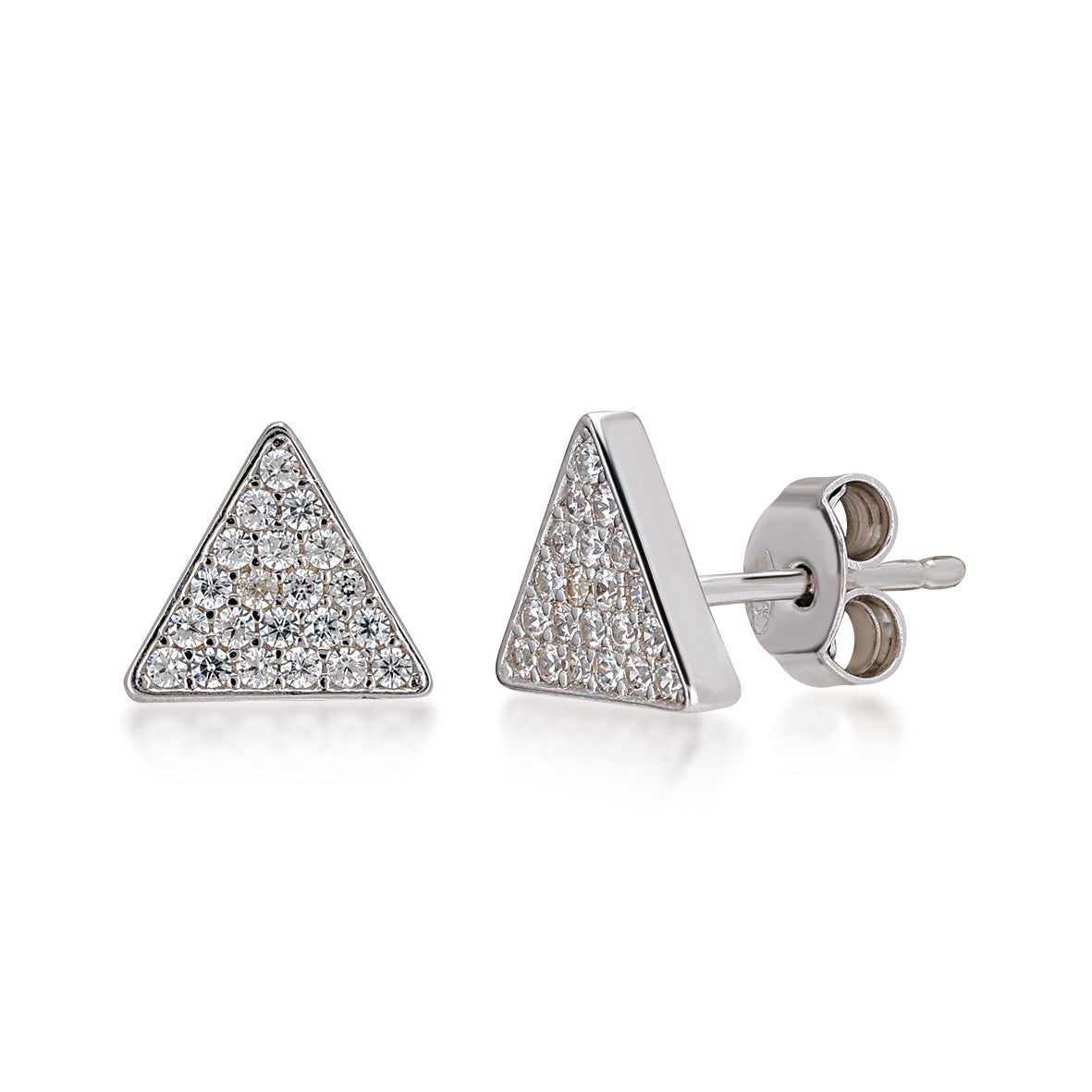 Triangle Earrings in Rose Gold Rhodium
