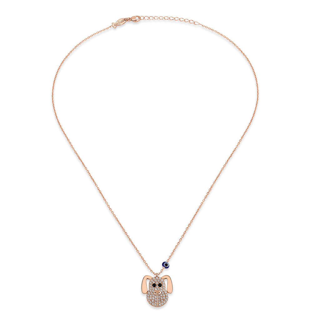Dog Necklace in Rose Gold Rhodium