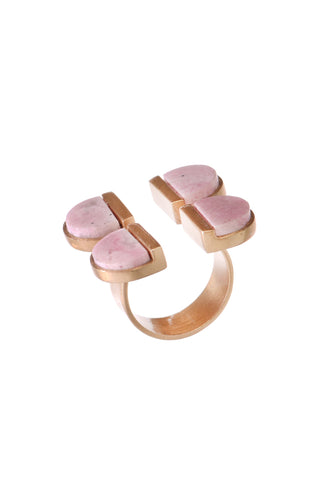 Quadrant queen Rhodochrosite ring