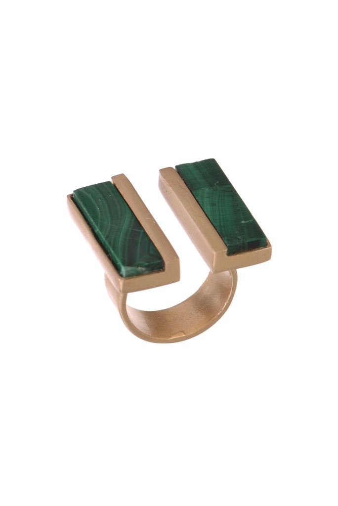 Twin impact Malachite ring
