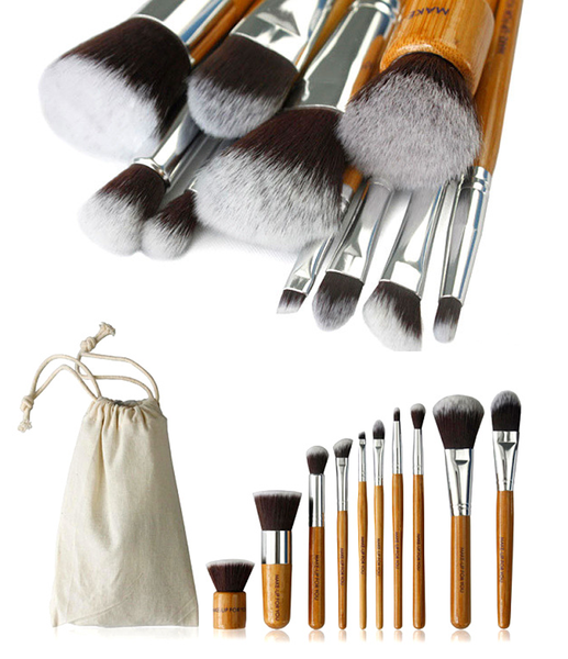 10 Piece Bamboo Brush Set ,  - MyBrushSet, My Make-Up Brush Set  - 1