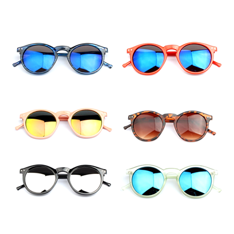 Unisex Multi-Color Round Mirror Style Sunglasses