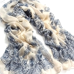Chiffon Porcelain Style Scarf and Shawl - Assorted Colors - BoardwalkBuy - 1