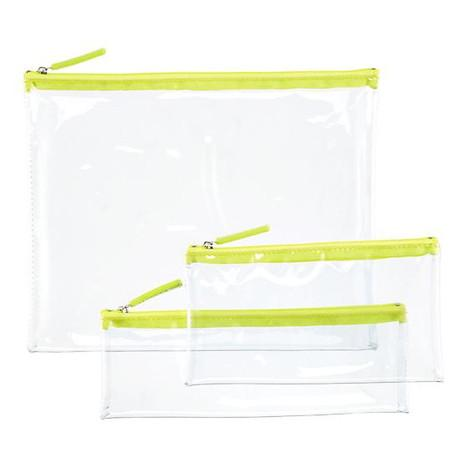 Green Zippered Clear Pouches