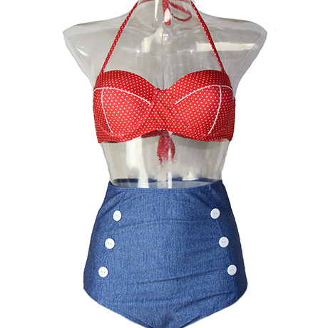 Vintage Pin-Up Style High-Waisted Swimsuit - 4 Styles