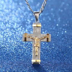 24K Gold Plated Two Tone Cross Pendant