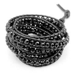 Bead And Leather Wrapped Bracelet - Assorted Colors